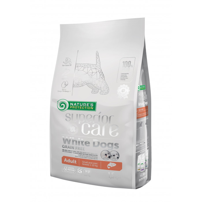 NATURE'S PROTECTION SUPERIOR CARE White dogs Grain Free Salmon Adult Small and Mini Breeds
