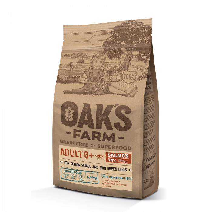 OAK'S FARM Grain Free Salmon Adult 6+ All Breed Dogs, dry food for dogs