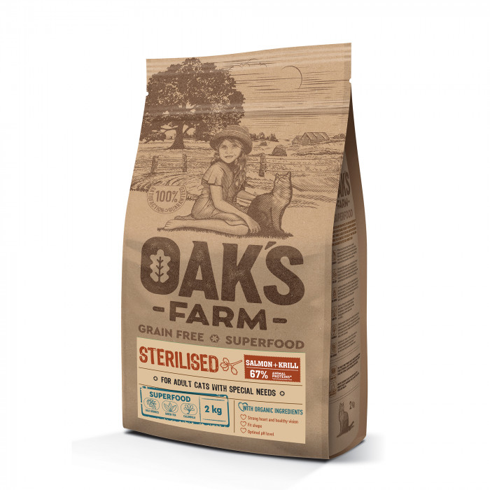OAK'S FARM Grain Free Salmon with Krill Sterilised Adult Cat, dry food for cats