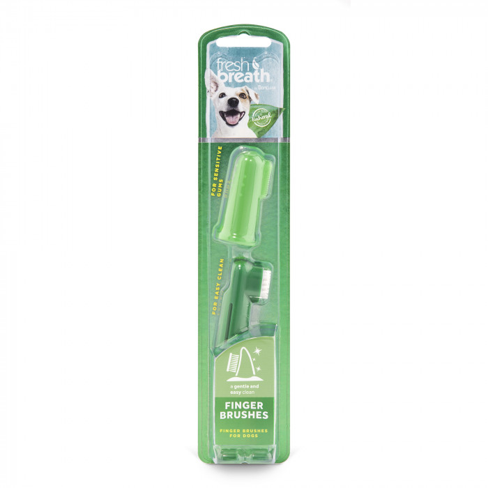 FRESH BREATH Toothbrush for dogs, placed on the finger