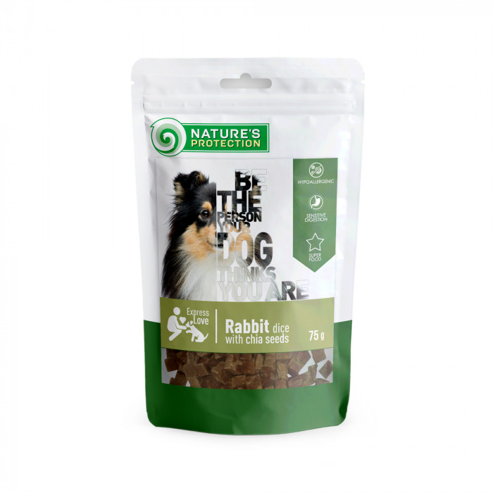 NATURE'S PROTECTION snack for dogs rabbit dices with chia seeds,