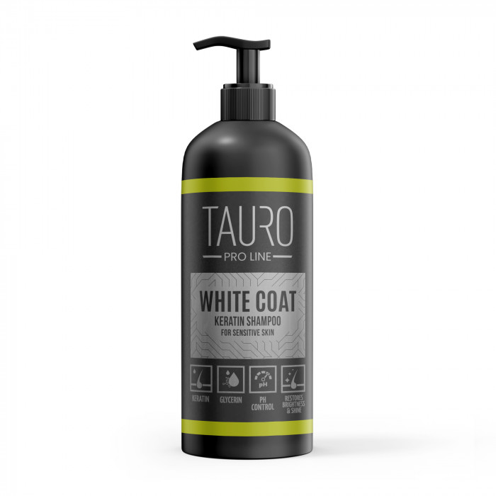 TAURO PRO LINE White coat KERATIN SHAMPOO for dogs and cats