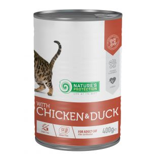 NATURE'S PROTECTION Cat Sterilized with chicken & duck canned food for cats 400 g