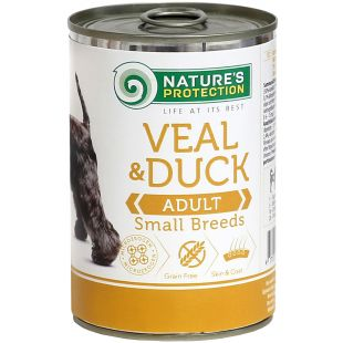 NATURE'S PROTECTION Dog Adult Small Breed Veal and Duck Konservuotas pašaras šunims 400 g