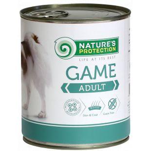 NATURE'S PROTECTION Dog Adult Game su žvėriena Konservuotas pašaras šunims 800 g