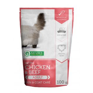 NATURE'S PROTECTION Skin & coat care Adult cat With chicken and beef, canned food for adult cat, in a pouch 100 g