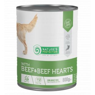NATURE'S PROTECTION Beef and Beef Hearts  complete pet food for adult dogs 800 g