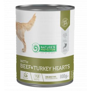 NATURE'S PROTECTION Beef and Turkey Hearts  complete pet food for adult dogs 800 g