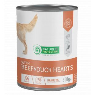 NATURE'S PROTECTION Beef and Duck Hearts complete pet food for adult dogs 800 g