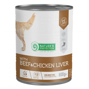 NATURE'S PROTECTION Beef and Chicken Liver  complete pet food for adult dogs 800 g