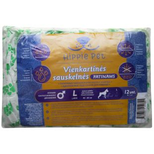 HIPPIE PET ONE-TIME USE DIAPERS FOR MALE DOGS 60-80 cm x 12