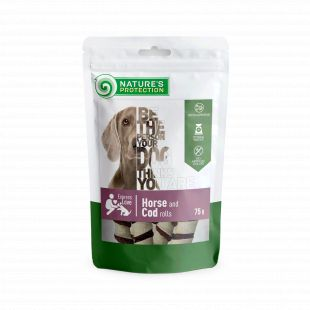 NATURE'S PROTECTION snacks for dogs, horse and cod rolls 75 g x 6