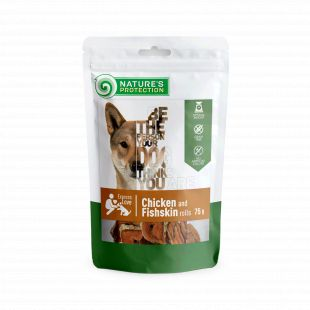 NATURE'S PROTECTION snacks for dogs, chicken and fishskin roll 75 g x 6