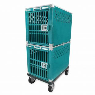 HYDROGROOM 300 Crate, double cage for animals Teal Sparkle
