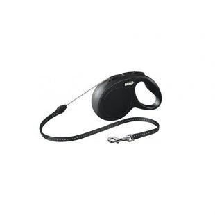 FLEXI Classic Leash, max 12 kg, 8 m, cord, black, S