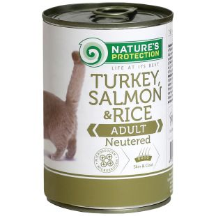 NATURE'S PROTECTION Cat Neutered Turkey, Salmon & Rice canned food for cats 400 g