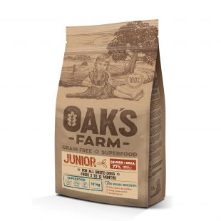 OAK'S FARM Grain Free Salmon with Krill Junior All Breed Dogs, dry food for junior dogs 12 kg