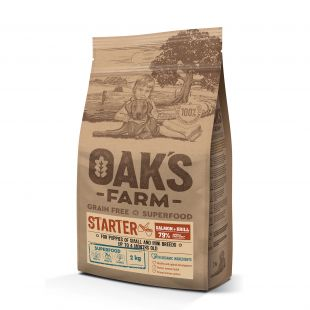 OAK'S FARM Grain Free Salmon with Krill Starter  Small and Mini Breed Puppies, dry food for dogs 2 kg