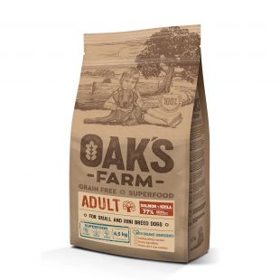 OAK'S FARM Grain Free Salmon with Krill Adult Small and Mini Breed Dogs, dry food for dogs  6,5 kg