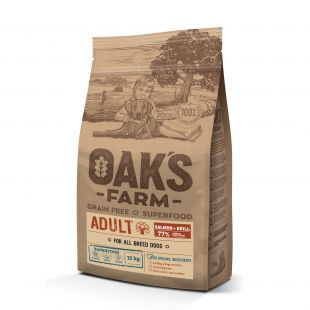 OAK'S FARM Grain Free Salmon with Krill Adult All Breed Dogs, dry food for dogs  12 kg