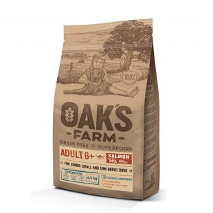 OAK'S FARM Grain Free Salmon Adult 6+ All Breed Dogs, dry food for dogs  6,5 kg