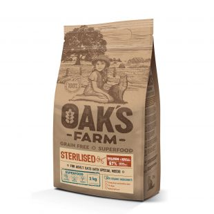 OAK'S FARM Grain Free Salmon with Krill Sterilised Adult Cat, dry food for cats 2 kg