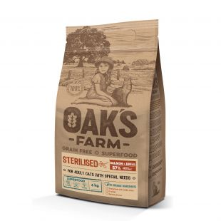OAK'S FARM Grain Free Salmon with Krill Sterilised Adult Cat, dry food for cats 6 kg