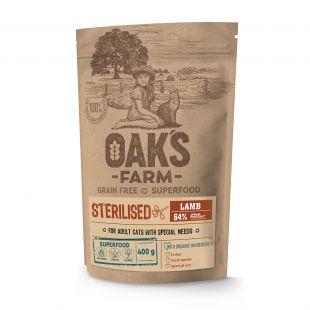 OAK'S FARM Grain Free Lamb Sterilised Adult Cat, dry food for cats 400 g