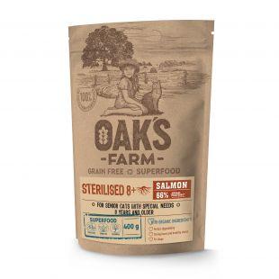 OAK'S FARM Grain Free Salmon Sterilised 8+ Cat, dry food for cats 400 g