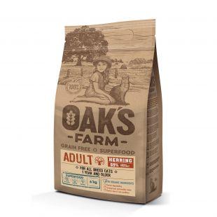 OAK'S FARM Grain Free Herring Adult Cat, dry food for cats 6 kg