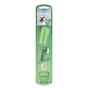 FRESH BREATH Toothbrush for dogs, placed on the finger Green