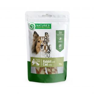 NATURE'S PROTECTION snack for dogs rabbit and cod rolls, 75 g x 6