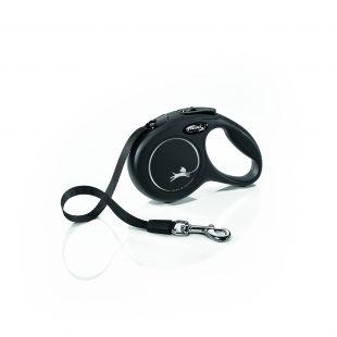 FLEXI Classic Leash, max 12 kg, 3 m, striped XS, black