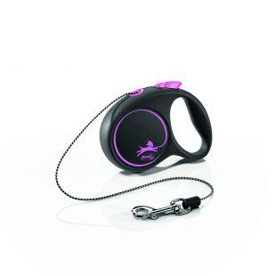 FLEXI Black Design Leash, cord  XS, pink