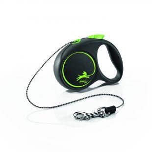 FLEXI Black Design Leash, cord  XS, green