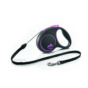 FLEXI Black Design Leash, striped  M, pink