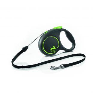 FLEXI Black Design Leash, striped  M, green