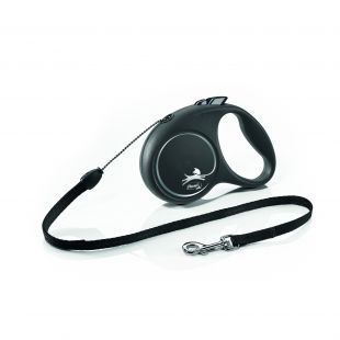 FLEXI Black Design Leash, max 50kg 5m, L, striped, black