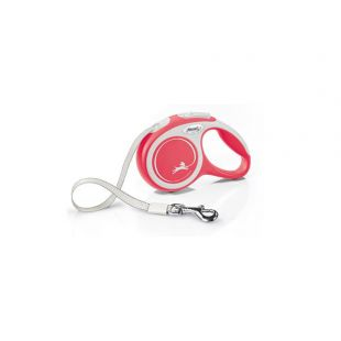 FLEXI New Comfort Leash, striped, XS, red