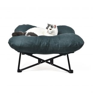 P.LOUNGE Pet bed with folding metal frame, dark green, 72x72x28 cm