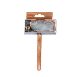SHUBERT Brush for cats and dogs soft bristles, light brown, size M, 16x9x1.5 cm