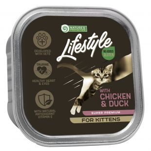 NATURE'S PROTECTION LIFESTYLE kitten, canned food with chicken and duck, for kittens, 85 g