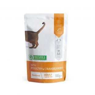 NATURE'S PROTECTION Sterilized Konservuotas pašaras katėms su paukštiena ir spanguolėmis 100 g