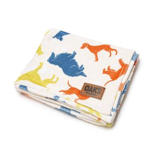 OAK'S FARM blanket 127 x 152 cm, 100% cotton, cats and dogs
