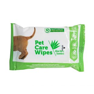 NATURE'S PROTECTION Antibacterial pet care wipes aloe scent, 15 pcs