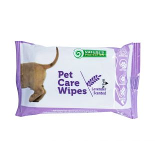 NATURE'S PROTECTION Antibacterial pet care wipes lavender scent, 15 pcs