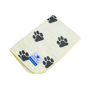 HIPPIE PET reusable pet pad 80x90 cm yellow with paws (size L)