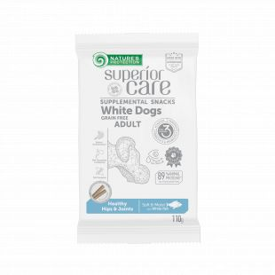 NATURE'S PROTECTION SUPERIOR CARE White Dogs Healthy hips & joints Grain free White Fish snacks with white fish for adult dogs with  white and light coat 110 g x 6