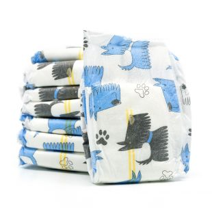 MISOKO&CO disposable diapers for male dogs with puppies, moisture indicator, lemon scent, size M, 12 pcs.